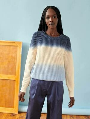White + Warren Dip Dye Blue Sweater