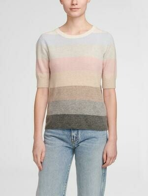 White + Warren Pastel Stripe Cashmere Sweater