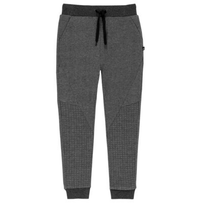 DPD Terry And Quilted Jersey Sweatpants Dark Grey