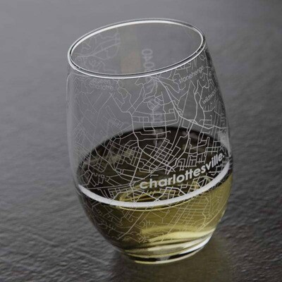 Maps Stemless Wine Glass - Charlottesville