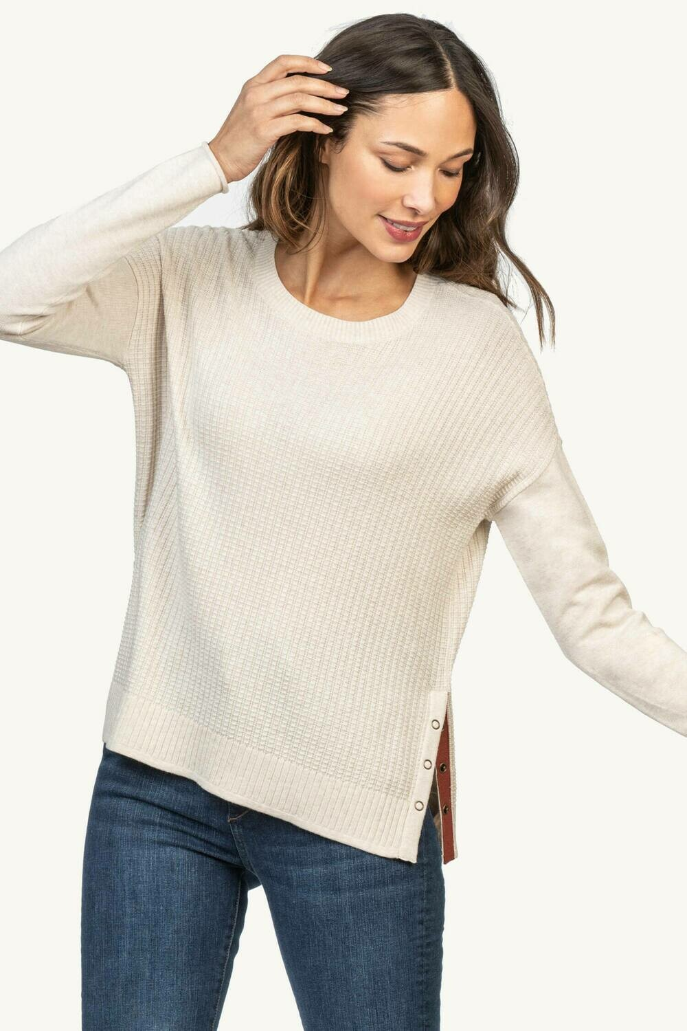 LillaP Side Snap Pullover Sweater - Magnolia