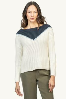 LillaP Intarsia Boatneck Sweater - Ivory Intarsia