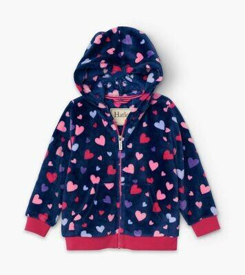 Hatley Confetti Hearts Huzzy Fleece Hooded Jacket