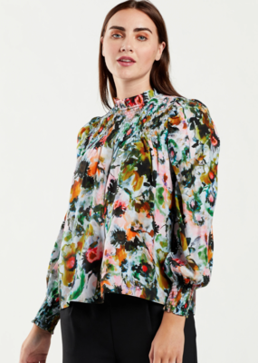 Marie Oliver Sofia Smocked Inky Floral Blouse
