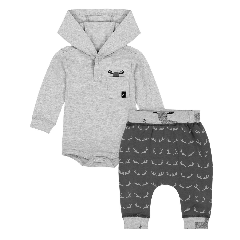 DPD Grey Hooded L/S Bodysuit & Deer Pant Set