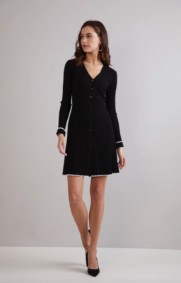 Shoshanna Jet Knit V Neck Dress