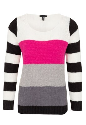 Tribal Hot Pink Colorblock Sweater