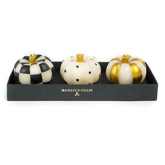 MacKenzie Candles - Mini Pumpkins Black & Gold