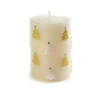 MacKenzie Pillar Candle - Christmas Tree Gold & Pearl
