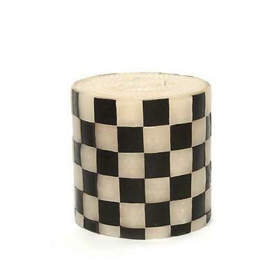 MacKenzie Pillar Candle - Check Black & Ivory 5