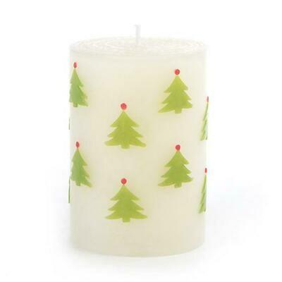 MacKenzie Pillar Candle - Christmas Tree Red & Green