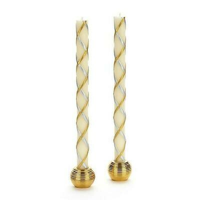 MacKenzie Taper Candle - Gold & Silver Fishnet