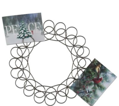Antique Bronze Spiral Wreath Greeting Card Holder