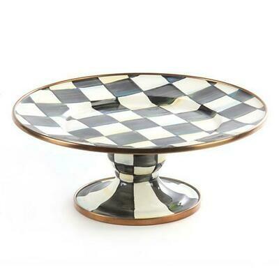 MacKenzie Enamel Pedestal Platter - Courtly Check