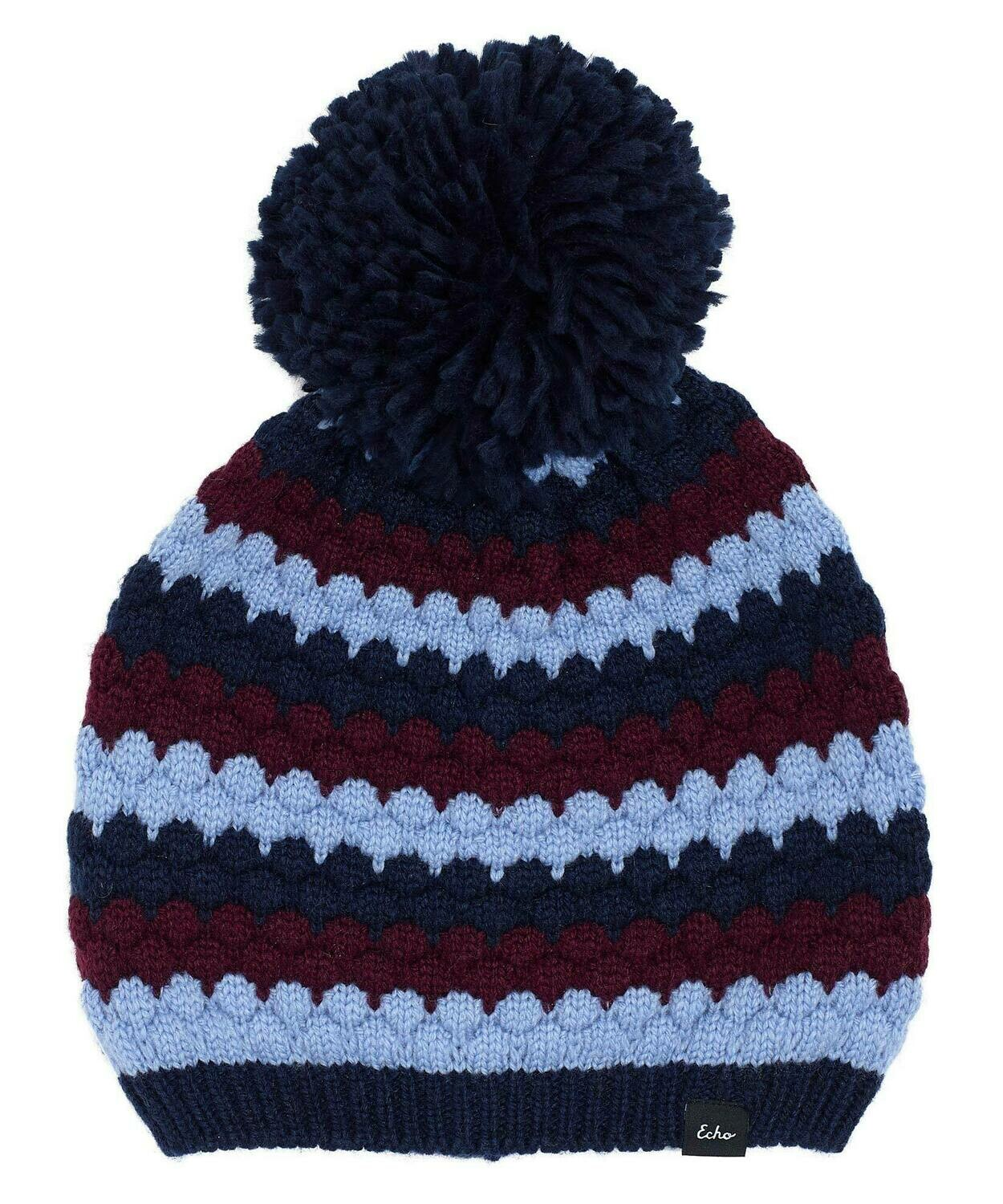 Echo Recycled Bubble Hat - Blues/Burgandy