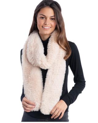 Fab Fur Knit Fur Infinity Scarf - Ivory