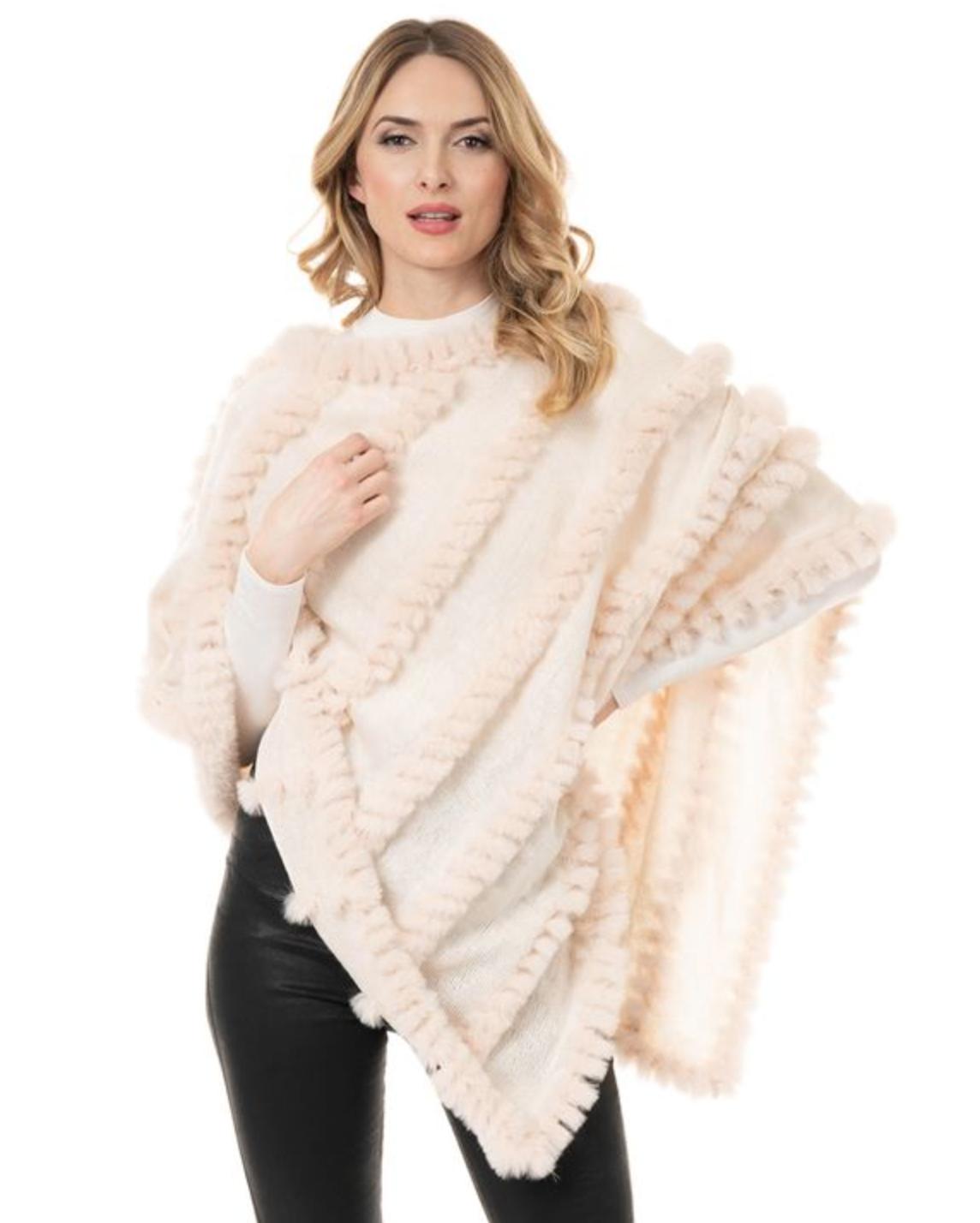 Fab Fur Knitted Fur Poncho - Ivory