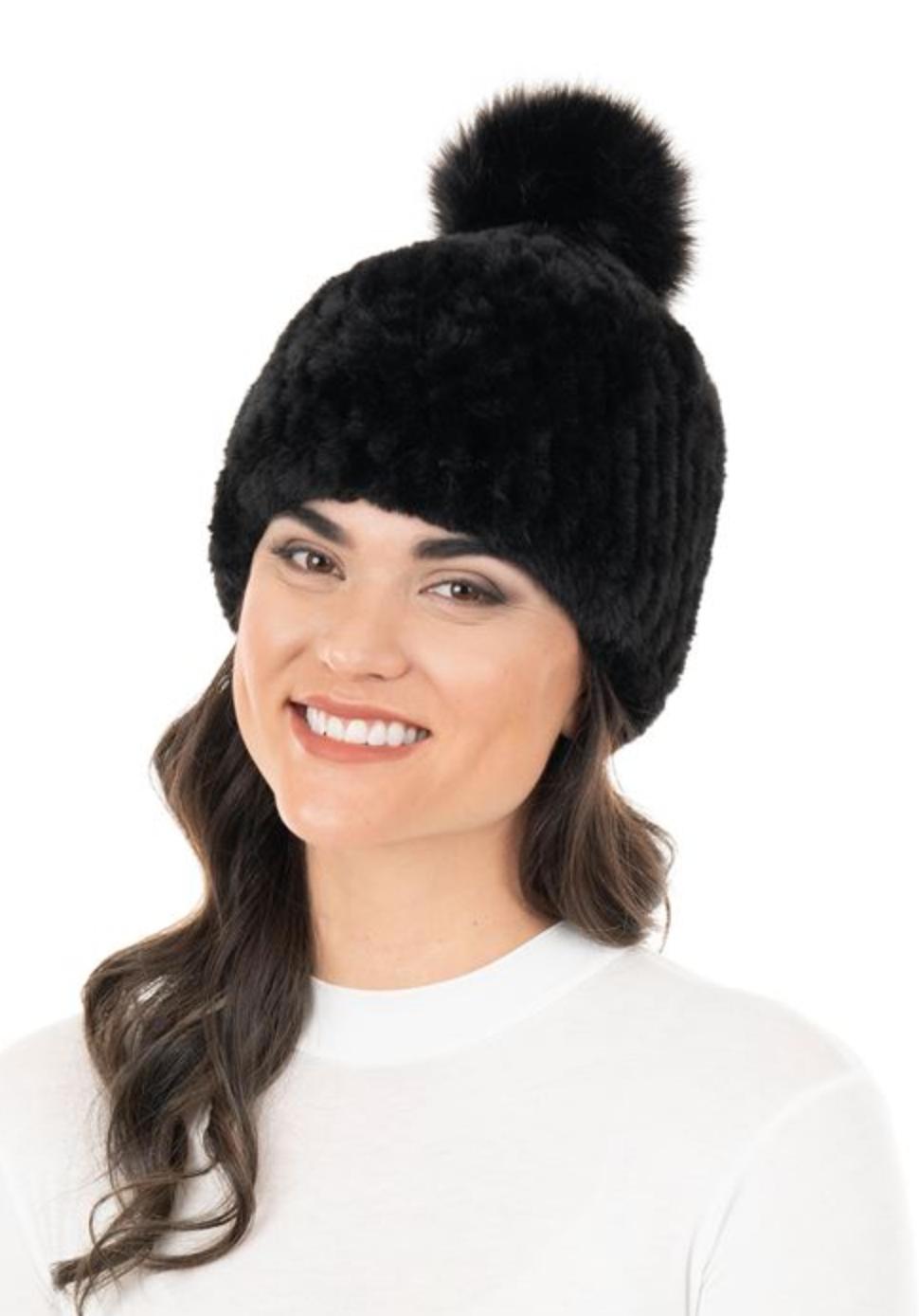 Fab Fur Knitted Fur Pom Hat