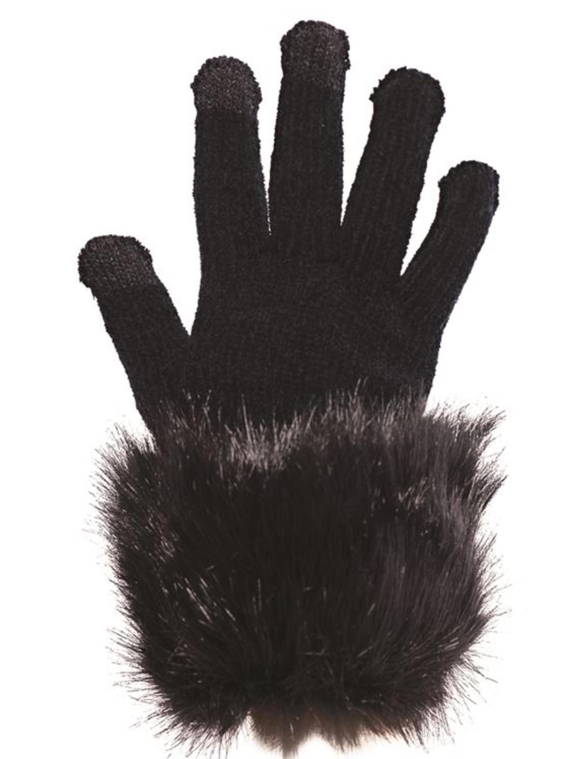 Fab Fur Tech Glove - Black Fur