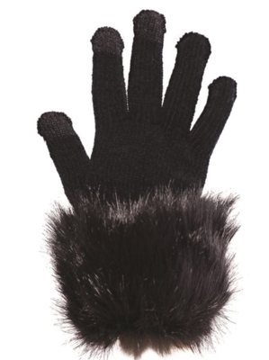 Fab Fur Tech Glove - Black Fur