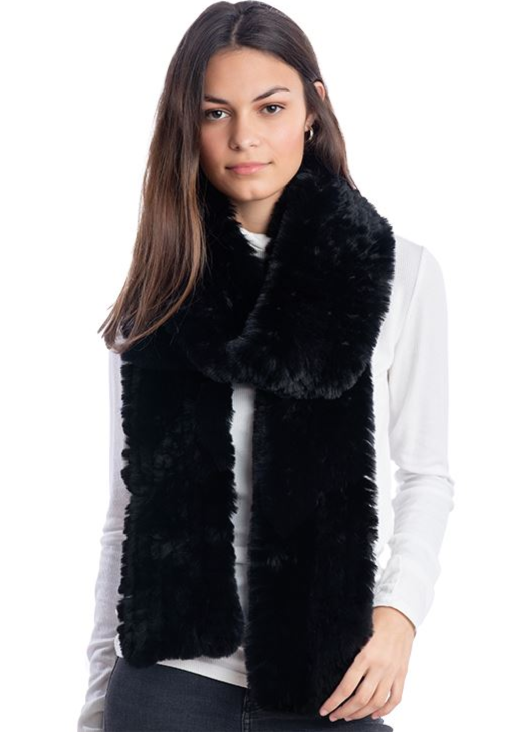 Fab Fur Knit Fur Infinity Scarf - Black