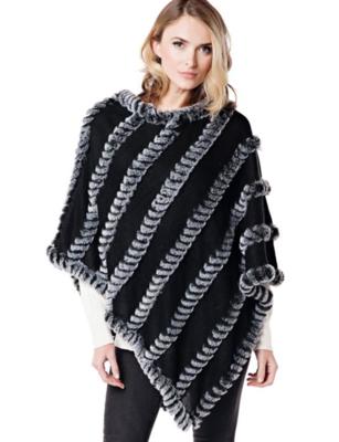 Fab Fur Knitted Fur Poncho - Black