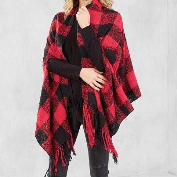Buffalo check scarf  - red