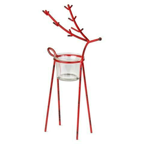 Red Reindeer Tea Light Holder