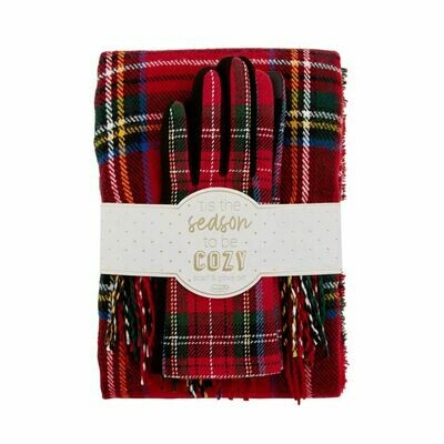 Plaid Scarf/Glove Set - Red