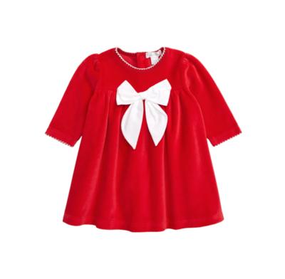 Kissy Red Velour Bow Dress
