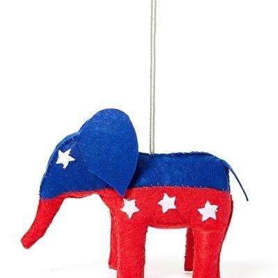 Political Elephant Felt Ornament
