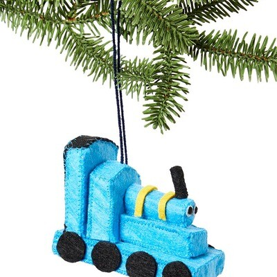 Blue Train Felt Ornament