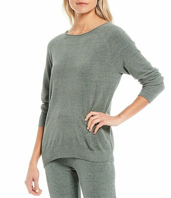 Barefoot Rolled Neck Pullover Agave
