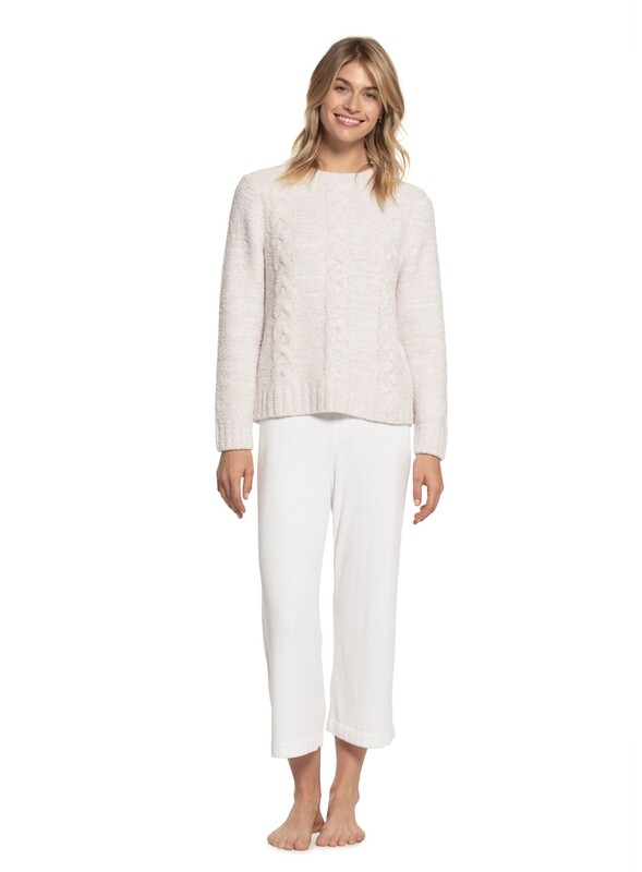 Barefoot Heathered Cable Pullover - Stone/White