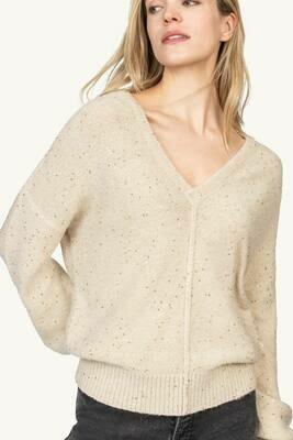 Lilla P Double V-Neck Pullover Sweater - Champagne