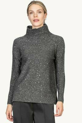 Lilla P Long Sleeve Turtleneck Sweater - Flint