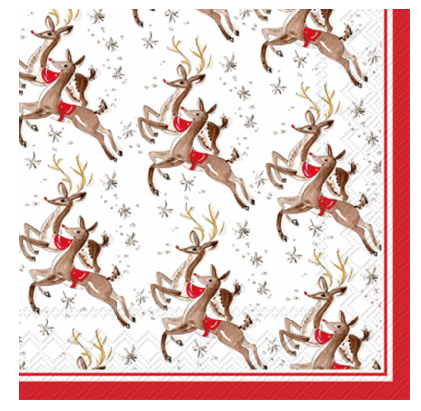 Cocktail Napkins - Reindeer Pattern