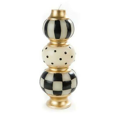 MacKenzie Finial Candle - Black & Ivory