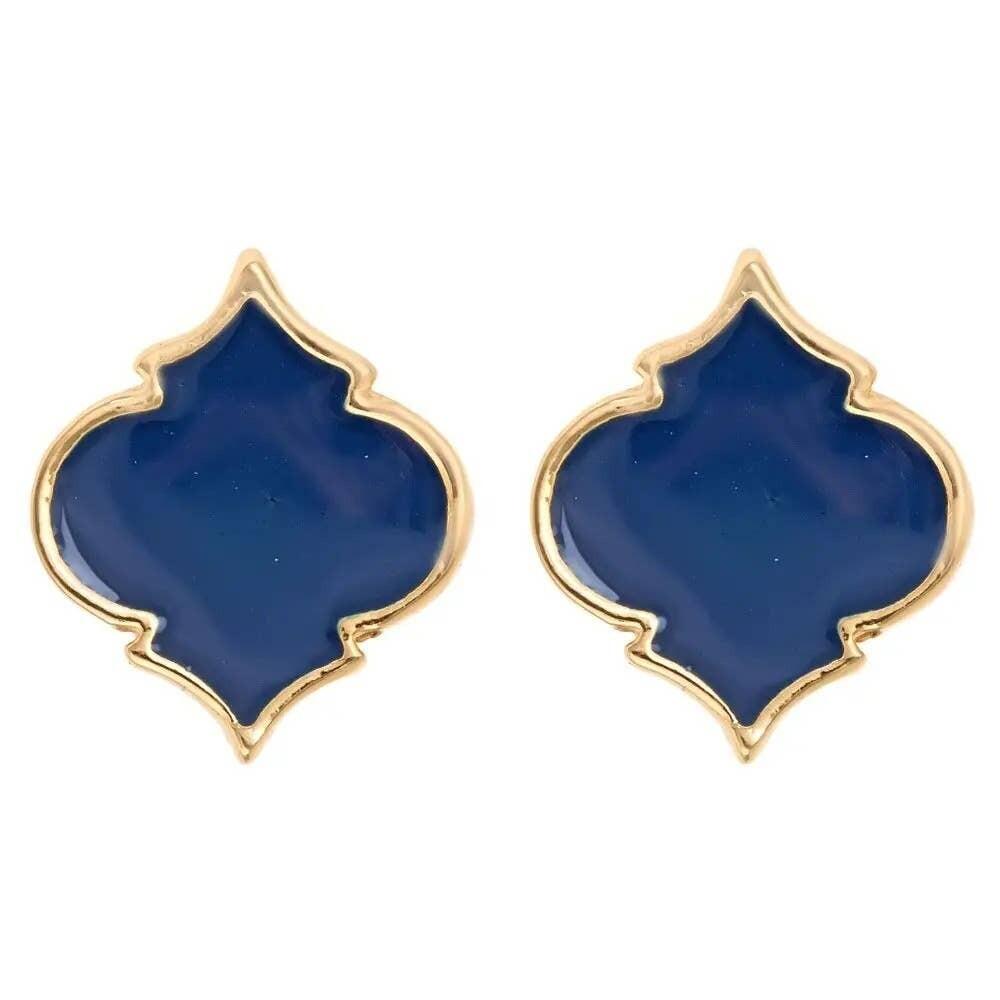 Fornash Spade Stud Earrings - Navy