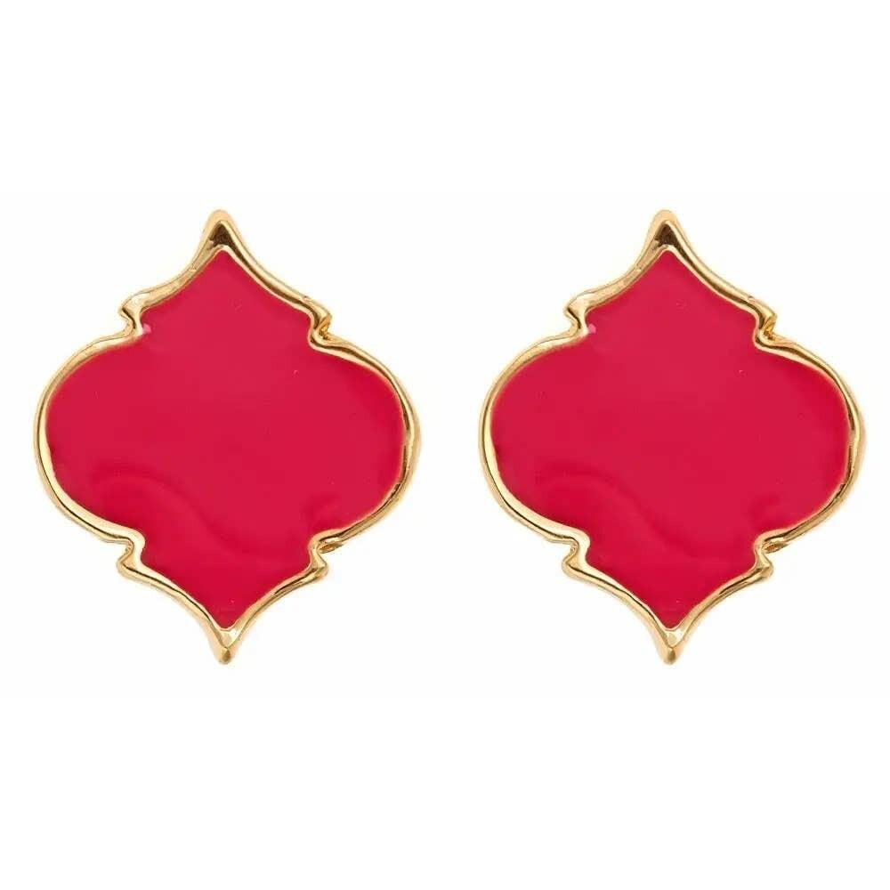 Fornash Spade Stud Earrings - Pink