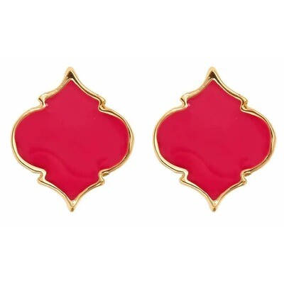 Fornash Spade Stud Earrings - Pink