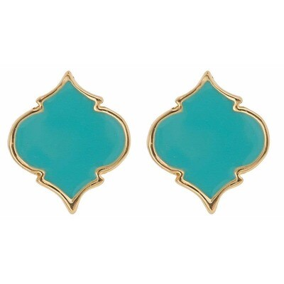 Fornash Spade Stud Earrings - Aqua