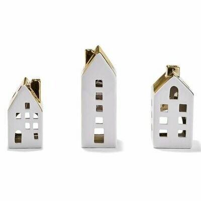 3 House Tealight Candleholder Set