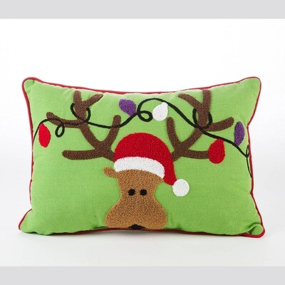 Reindeer Embroidered Pillow on the Green