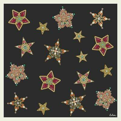 Echo Jeweled Silk Scarf - Black