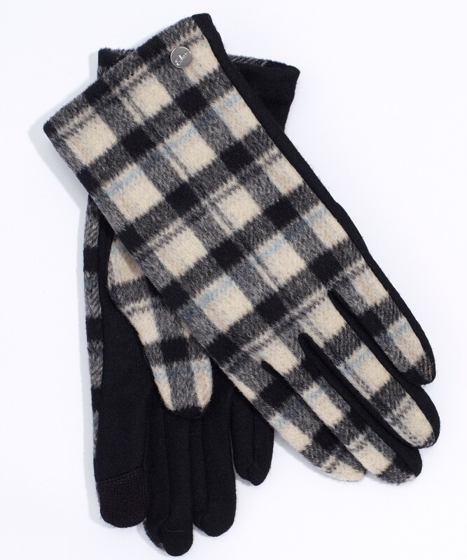 Echo Black/Cream Plaid Touch Glove
