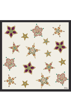 Echo Jeweled Silk Scarf - Cream
