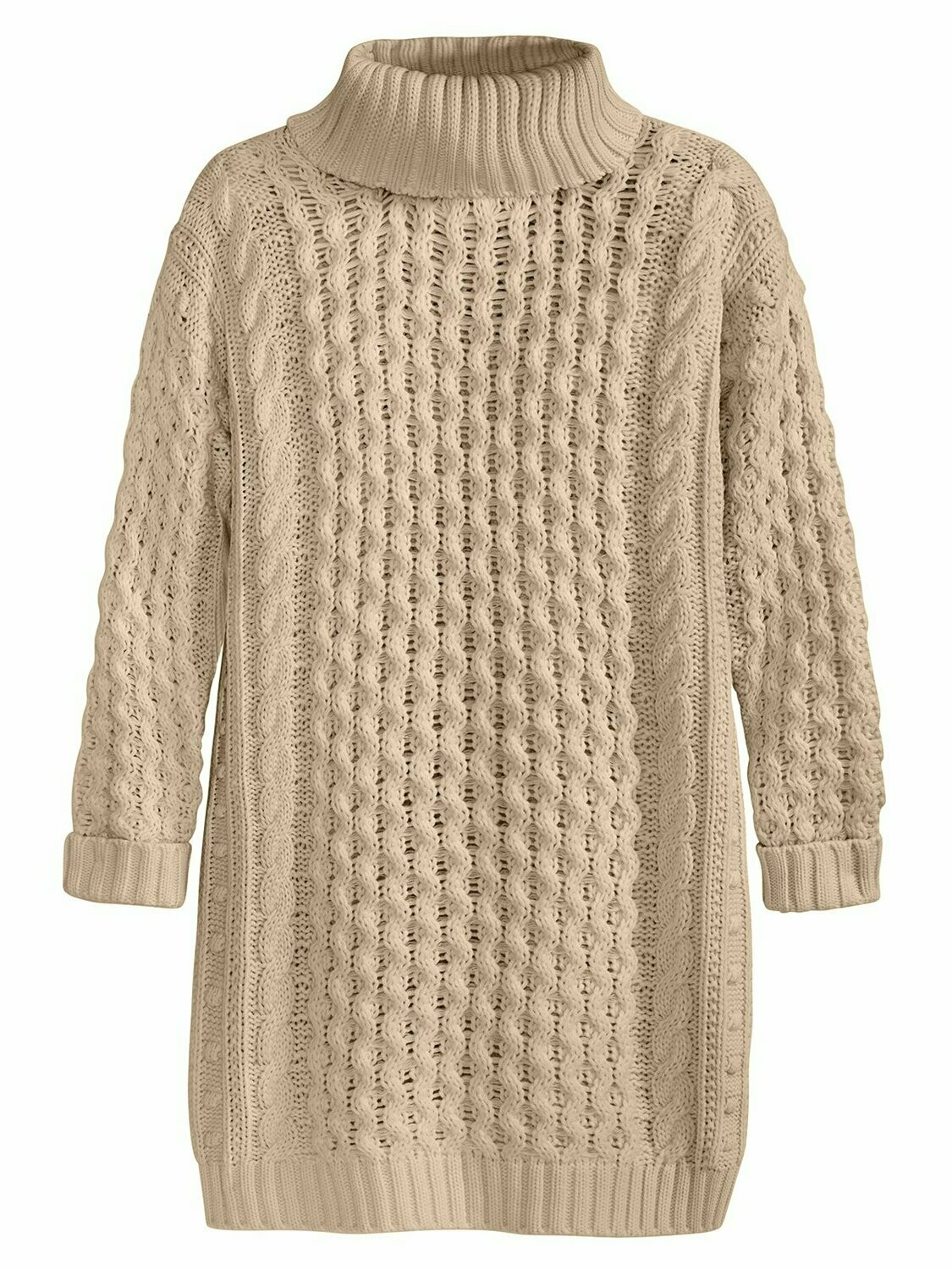 525 Cable Turtleneck Sweater Dress Chalk