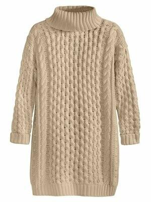 525 Cable Turtleneck Sweater Dress Chalk