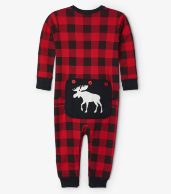 Moose on Plaid Baby Union Suit